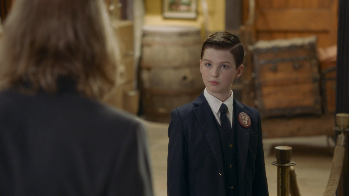 """""""A Docent, a Little Lady and a Bouncer Named Dalton"""" - Pictured: Sheldon (Iain Armitage). Sheldon gets a summer job at the local train museum. Also, George and Missy bond when Missy embarks on a new stage of womanhood, and Georgie discovers Mary's guilty pleasure, on YOUNG SHELDON, Thursday, Nov. 12 (8:00-8:31 PM, ET/PT) on the CBS Television Network. Photo: Screen Grabs/2020 Warner Bros. Entertainment Inc. All Rights Reserved."""