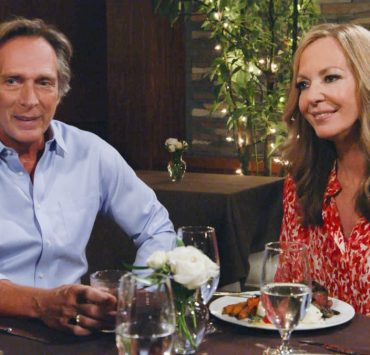 """""""Smitten Kitten and a Tiny Boo-Boo Error"""" – Bonnie and Adam regret spending their first wedding anniversary with Marjorie and her new beau, Wayne (Peter Onorati). Also, Jill's attempt at a good deed becomes a moral dilemma, on MOM, Thursday, Nov. 12 (9:01-9:30 PM, ET/PT) on the CBS Television Network. Pictured (L-R): William Fichtner as Adam and Allison Janney as Bonnie Photo: Screen Grab/CBS ©2020 CBS Broadcasting, Inc. All Rights Reserved."""