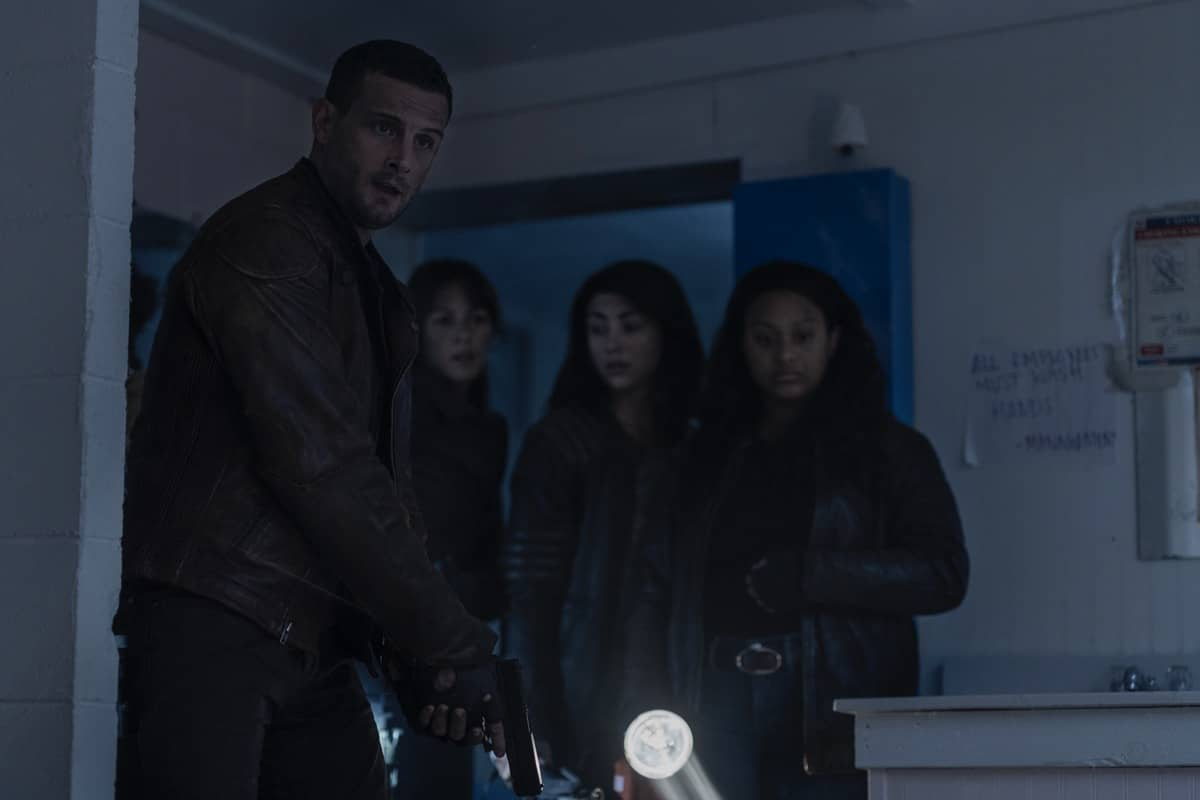 Nico Tortorella as Felix, Annet Mahendru as Huck, Aliyah Royale as Iris, Alexa Mansour as Hope - The Walking Dead: World Beyond _ Season 1, Episode 7 - Photo Credit: Zach Dilgard/AMC