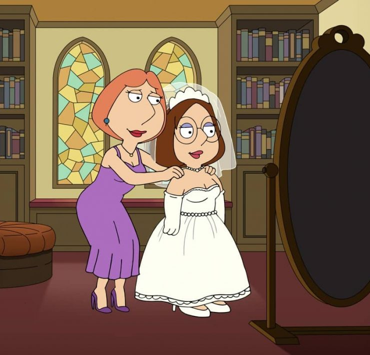 FAMILY GUY: Meg plans her wedding to an unexpected Quahog resident. Meanwhile, Peter finds a new vest and on one of many adventures fitting for his new attire, his arms are torn off and he is left with tiny hands that have yet to grow back in the ìMegís Weddingî episode of FAMILY GUY airing Sunday, Nov. 15 (9:30-10:00 PM ET/PT) on FOX. FAMILY GUY © 2020 by Twentieth Century Fox Film Corporation.