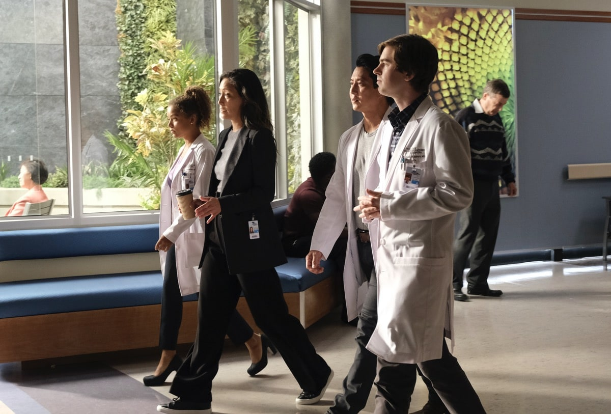 "THE GOOD DOCTOR Season 4 Episode 3 - THE GOOD DOCTOR - ""Newbies"" – With several candidates vying for residency at St. Bonaventure, Chief of Surgery Dr. Audrey Lim tasks Dr. Shaun Murphy, Dr. Claire Browne and Dr. Alex Park with mentoring the top first-year resident contenders. As their mentees shadow them for the day, Shaun and Park meet with Andrews to discuss a difficult surgery scheduled for a minor. Later, Shaun inadvertently insults Lea while discussing the pros and cons of the controversial surgery. And elsewhere, Dr. Morgan Reznick seeks out Claire and Lim's help on a consult on an all-new ""The Good Doctor,"" MONDAY, NOV. 16 (10:00-11:00 p.m. EST), on ABC. (ABC/Jeff Weddell) ANTONIA THOMAS, CHRISTINA CHANG, WILL YUN LEE, FREDDIE HIGHMORE"