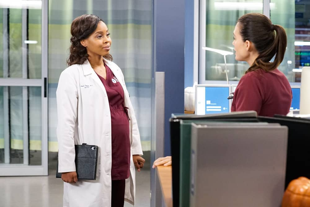 "CHICAGO MED -- ""Those Things Hidden In Plain Sight"" Episode 602 -- Pictured: (l-r) Danielle Moné Truitt as Dr. Angela Douglas, Torrey DeVitto as Natalie Manning -- (Photo by: Elizabeth Sisson/NBC)"