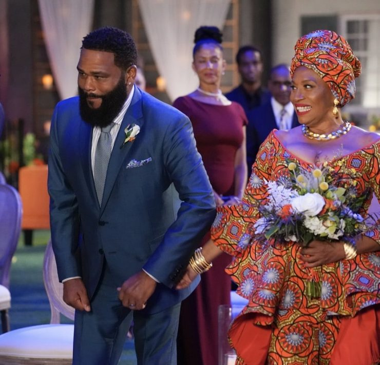 "BLACK-ISH - ""Our Wedding Dre"" – Pops and Ruby are getting re-married! And Dre's intimate wedding plans go awry when Pops' brother, Uncle Norman, shows up unexpectedly for the festivities. Meanwhile, Ruby refuses Bow's offer to help with preparations until an unanticipated situation gives her an opening to save the big day on ""black-ish,"" WEDNESDAY, NOV. 18 (9:30-10:00 p.m. EST), on ABC. (ABC/Richard Cartwright) ANTHONY ANDERSON, JENIFER LEWIS"