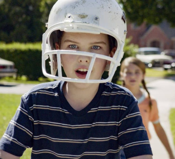 """""""Training Wheels and an Unleashed Chicken"""" – Pictured: Sheldon (Iain Armitage). With college in sight, Sheldon is determined to ride his bike without training wheels. Also, Mary and George Sr. argue overparenting styles, on YOUNG SHELDON, Thursday, Nov. 19 (8:00-8:31 PM, ET/PT) on the CBS Television Network. Photo: Screen Grab / ©2020 Warner Bros. Entertainment Inc. All Rights Reserved."""