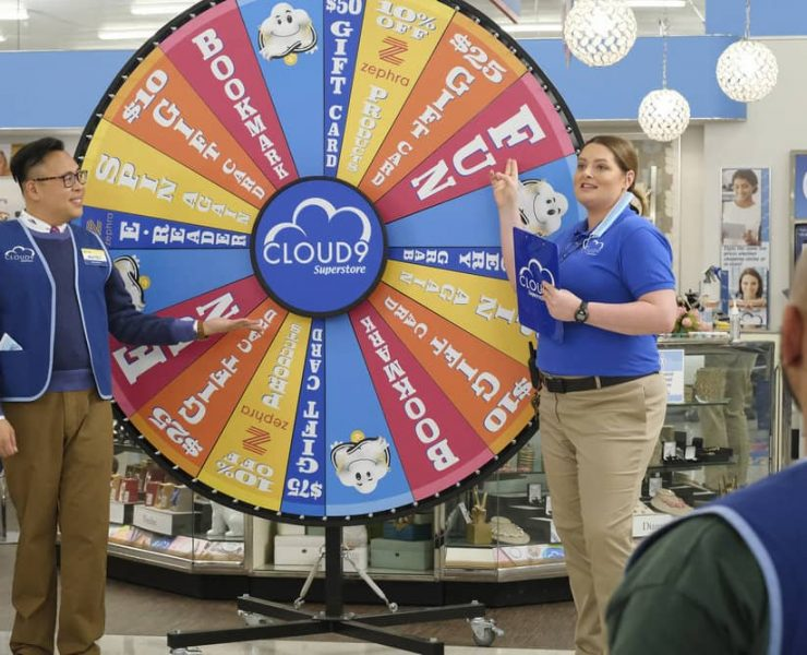 "SUPERSTORE -- ""Prize Wheel"" Episode 604 -- Pictured: (l-r) Nico Santos as Mateo, Lauren Ash as Dina -- (Photo by: Trae Patton/NBC)"