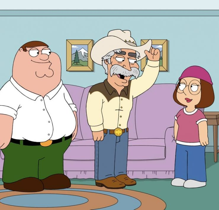 "FAMILY GUY: Lois and Peter are divided by differing views on who the next Mayor of Quahog should be. Upset at Lois' first choice, Peter seeks out the late Mayor Adam West's cousin, Wild Wild West (guest voice Sam Elliott), in the ""Wild Wild West"" episode of FAMILY GUY airing Sunday, Nov. 22 (9:30-10:00 PM ET/PT) on FOX. FAMILY GUY © 2020 by Twentieth Century Fox Film Corporation."