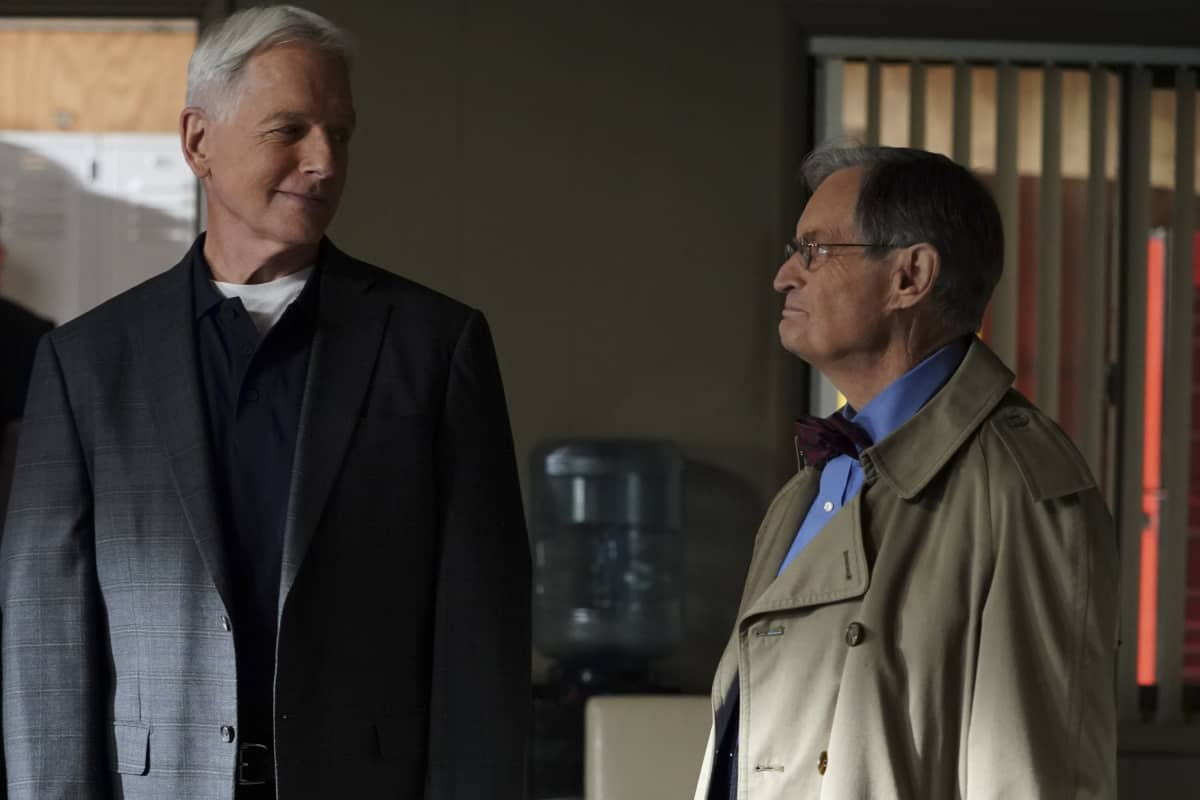 """Everything Starts Somewhere"" – Flashbacks reveal the murder case that first introduced young Gibbs (Sean Harmon) to NCIS and his introduction to young, new-to-America Ducky (Adam Campbell), on the 400th episode of NCIS, Tuesday, Nov. 24 (8:00-9:00 PM, ET/PT) on the CBS Television Network. Pictured: Mark Harmon as NCIS Special Agent Leroy Jethro Gibbs, David McCallum as Medical Examiner Dr. Donald ""Ducky"" Mallard. Photo: Sonja Flemming/CBS ©2020 CBS Broadcasting, Inc. All Rights Reserved."