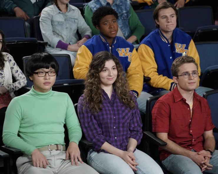 """THE GOLDBERGS - """"Eracism"""" – Adam sets out to create a movie that will tackle racism but realizes he is out of his depth on the subject due to his sheltered upbringing. Meanwhile, Geoff is determined to teach Erica and Barry to become better people on an all-new episode of """"The Goldbergs,"""" WEDNESDAY, NOV. 25 (8:00-9:00 p.m. EST), on ABC. (ABC/Richard Cartwright) KENNY RIDWAN, STEPHANIE KATHERINE GRANT, SEAN GIAMBRONE"""