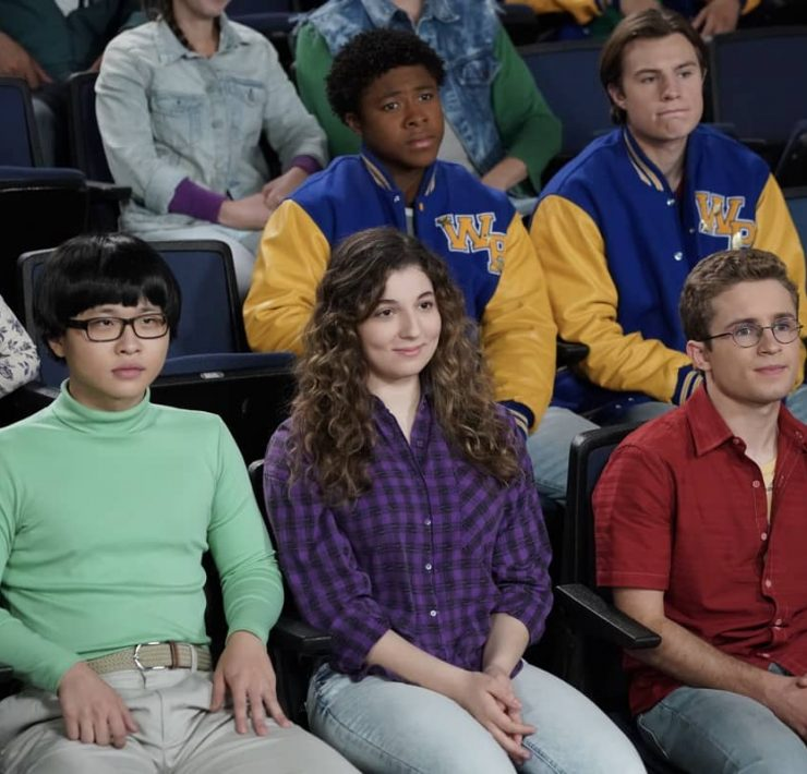 "THE GOLDBERGS - ""Eracism"" – Adam sets out to create a movie that will tackle racism but realizes he is out of his depth on the subject due to his sheltered upbringing. Meanwhile, Geoff is determined to teach Erica and Barry to become better people on an all-new episode of ""The Goldbergs,"" WEDNESDAY, NOV. 25 (8:00-9:00 p.m. EST), on ABC. (ABC/Richard Cartwright) KENNY RIDWAN, STEPHANIE KATHERINE GRANT, SEAN GIAMBRONE"