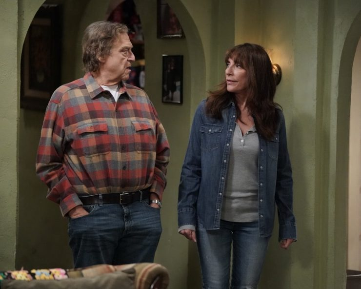 """THE CONNERS - """"Friends in High Places and Horse Surgery"""" – Darlene begins to develop a friendship with a manager at Wellman Plastics, which lands her in an awkward situation between the boss and her sister, Becky. Meanwhile, Louise's brother, Neville, tries to win over Jackie by making a thoughtful gesture, creating uncomfortable tension, on """"The Conners,"""" airing WEDNESDAY, NOV. 25 (9:00-9:30 p.m. EST), on ABC. (ABC/Eric McCandless) JOHN GOODMAN, KATEY SAGAL"""