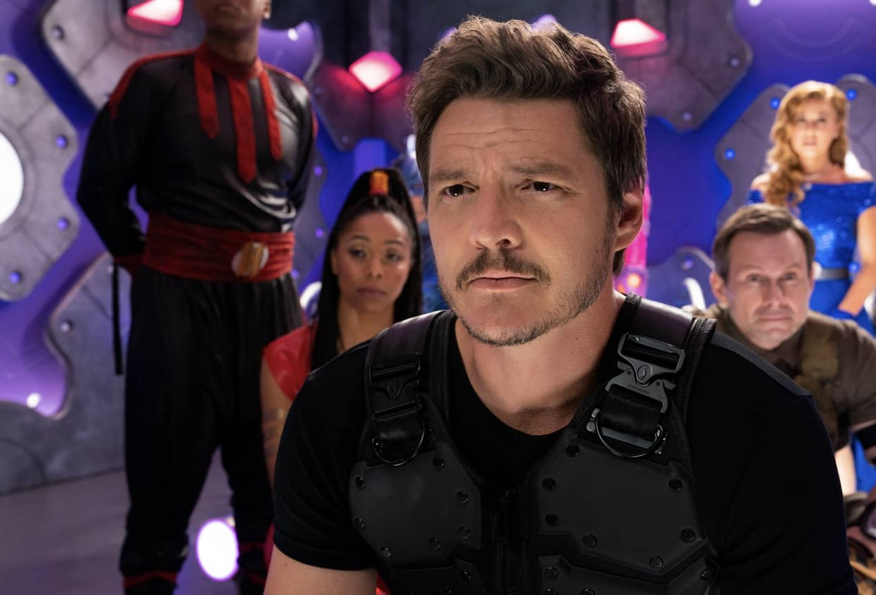We Can Be Heroes: (L-R) J. Quinton Johnson as Crimson Legend, Brittany Perry-Russell as Red Lightening Fury, Pedro Pascal as Marcus Moreno, Christian Slater as Tech-No, Haley Reinhart as Ms. Vox. Cr. Ryan Green/NETFLIX © 2020