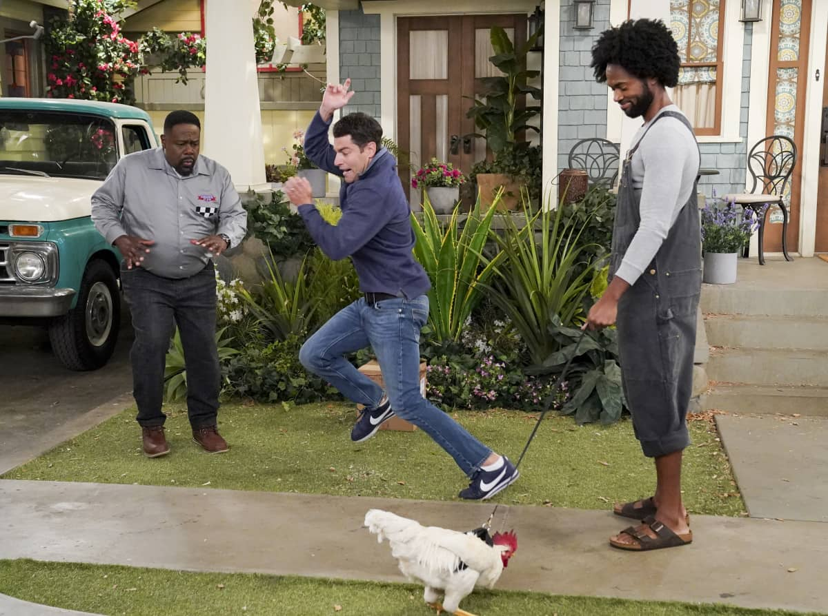 """The Neighborhood Season 3 Episode 4 """"Welcome to the Rooster"""" - Pictured: Cedric the Entertainer (Calvin Butler), Max Greenfield (Dave Johnson) and Milan Carter (Wyatt). The arrival of Wyatt (Milan Carter), an eco-conscious new neighbor, and his pet rooster disrupts the community, leading a desperate Dave and Calvin to team up on a covert mission to restore order. Also, when Tina stops by Marty's apartment for a surprise visit, the youngest Butler son is forced to come clean about a long-held secret, on THE NEIGHBORHOOD, Monday, Dec. 7 (8:00-8:30 PM, ET/PT) on the CBS Television Network Photo: Monty Brinton/CBS ©2020 CBS Broadcasting, Inc. All Rights Reserved."""
