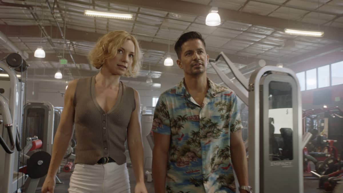 Magnum P.I. Season 3 Episode 4 - First the Beatdown, then the BlowbackÓ Ð Magnum and Higgins help an up-and-coming mixed martial arts fighter who is being pressured by a gang to throw an illegal fight. Also, Kumu is arrested for stealing an artifact from a collector that should be returned to its original resting place, on MAGNUM P.I., Friday, Jan. 8 (9:00-10:00 PM, ET/PT) on the CBS Television Network. Pictured L-R: Perdita Weeks as Juliet Higgins and Jay Hernandez as Thomas Magnum Photo: Screen GrabCBS ©2020 CBS Broadcasting, Inc. All Rights Reserved.