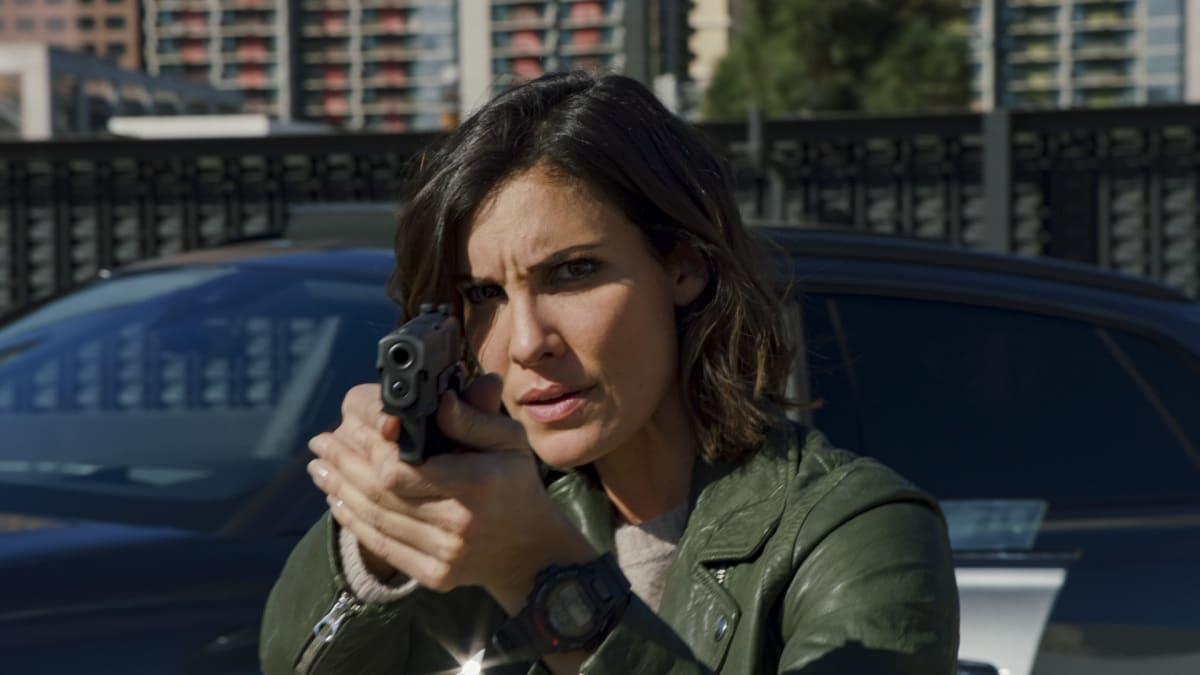 """NCIS LOS ANGELES Season 12 Episode 9 """"A Fait Accompli"""" - Pictured: Daniela Ruah (Special Agent Kensi Blye). While NCIS must track down an organized crime leader who is trying to buy stolen defense technology, Callen goes to Anna to ask the ultimate question. Also, Deeks is kicked out of NCIS training only to find that Hetty has a life-changing surprise for him, on NCIS: LOS ANGELES, Sunday, Jan. 17 (8:00-9:00 PM, ET/PT) on the CBS Television Network Photo: Screen Grab/CBS ©2020 CBS Broadcasting, Inc. All Rights Reserved."""