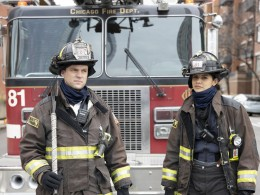 """CHICAGO FIRE Season 9 Episode 4 CHICAGO FIRE -- """"Funny What Things Remind Us"""" Episode 904 -- Pictured: (l-r) Jesse Spencer as Matthew Casey, Miranda Rae Mayo as Stella Kidd -- (Photo by: Adrian S. Burrows Sr./NBC)"""
