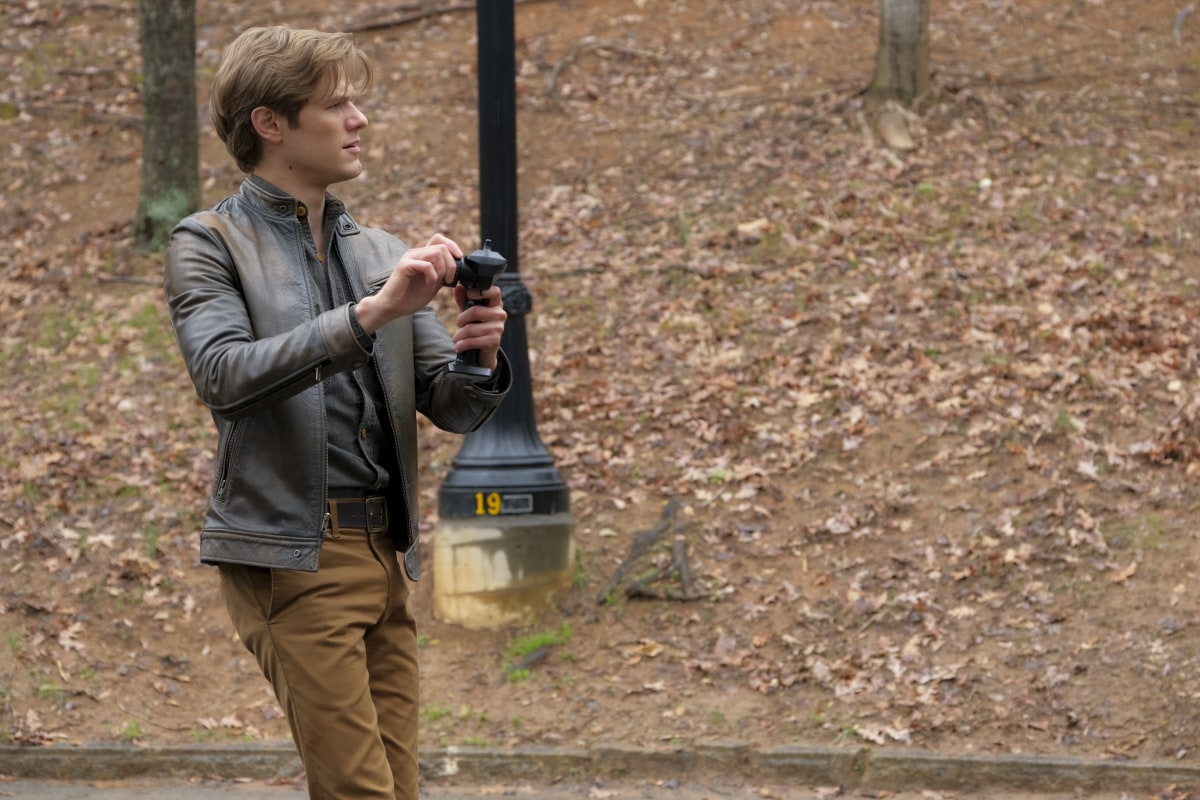 "MacGyver Season 5 Episode 7 ""Golden Lancehead + Venom + Pole Vault + Blood + Baggage"" -- The secret experimental cancer treatment Mac's developing with a friend is discovered when culprits ransack their lab, kidnap Mac's partner and plan to use the research to create a powerful new nerve agent, on MACGYVER, Friday, Feb. 5 (8:00-9:00 PM, ET/PT) on the CBS Television Network. Pictured: Lucas Till as Angus ""Mac"" MacGyver. Photo: Mark Hill/CBS ©2020 CBS Broadcasting, Inc. All Rights Reserved."