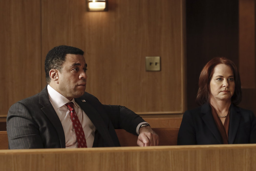 """THE BLACKLIST Season 8 Episode 5 -- """"The Fribourg Confidence (#140)"""" Episode 805 -- (Pictured: (l-r) Harry Lennix as Harold Cooper, Deirdre Lovejoy as Cynthia Panabaker -- (Photo by: Will Hart/NBC)"""