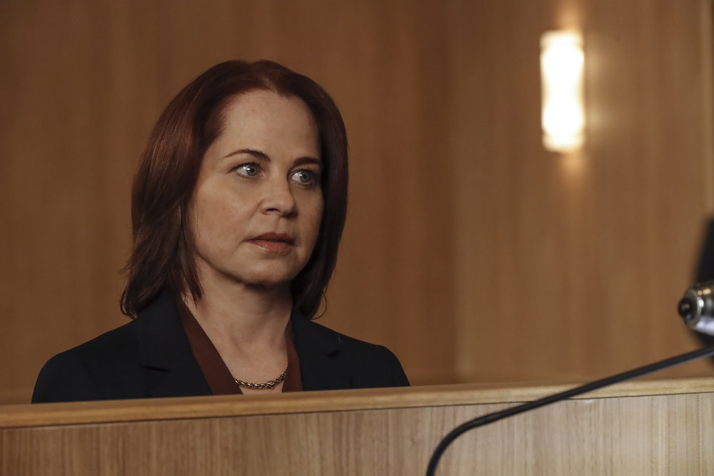"""THE BLACKLIST Season 8 Episode 5 -- """"The Fribourg Confidence (#140)"""" Episode 805 -- (Pictured: Deirdre Lovejoy as Cynthia Panabaker -- (Photo by: Will Hart/NBC)"""
