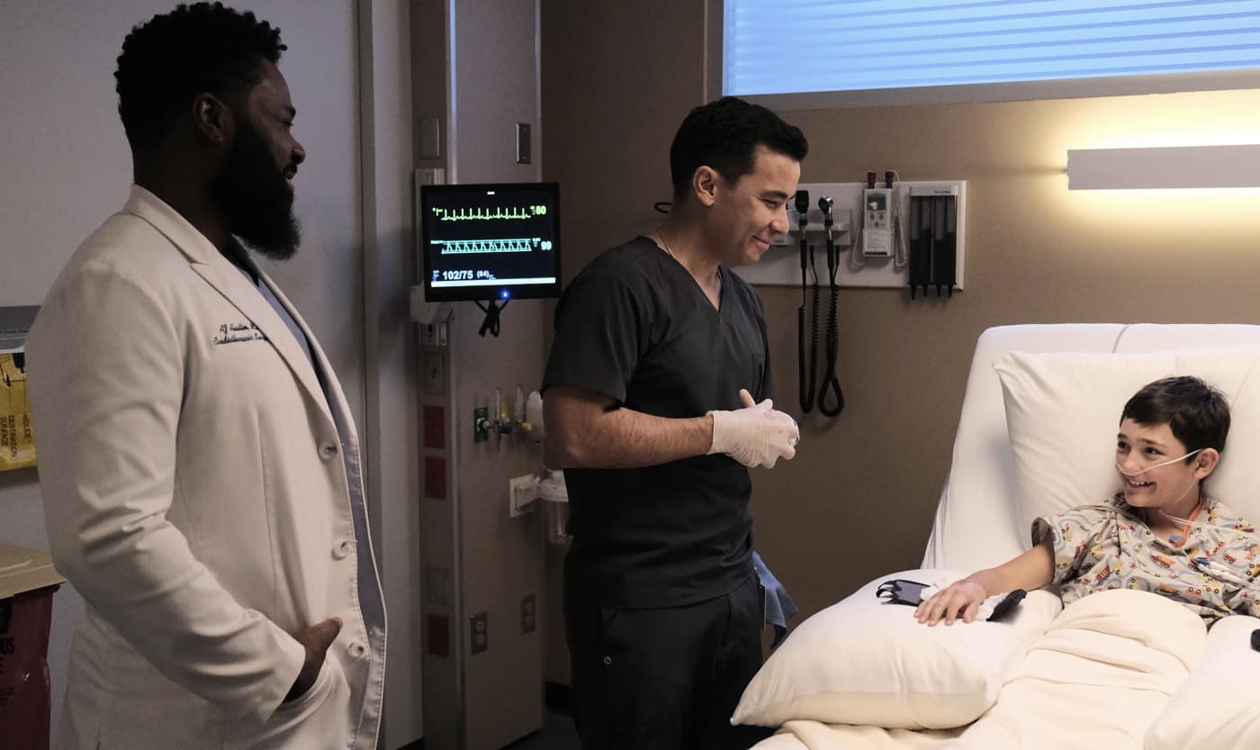 THE RESIDENT Season 4 Episode 6 :  L-R: Malcolm-Jamal Warner, guest star Conrad Ricamora and guest star Makai Dudeck in the Requiems & Revivals episode of THE RESIDENT airing Tuesday, Feb. 16  (8:00-9:01 PM ET/PT) on FOX. ©2021 Fox Media LLC Cr: Guy D'Alema/FOX