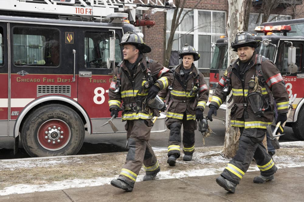 "CHICAGO FIRE Season 9 Episode 7  -- ""Dead Of Winter"" Episode 907 -- Pictured: (l-r) Taylor Kinney as Kelly Severide, Randy Flagler as Capp, Joe Minoso as Joe Cruz -- (Photo by: Adrian S. Burrows Sr./NBC)"