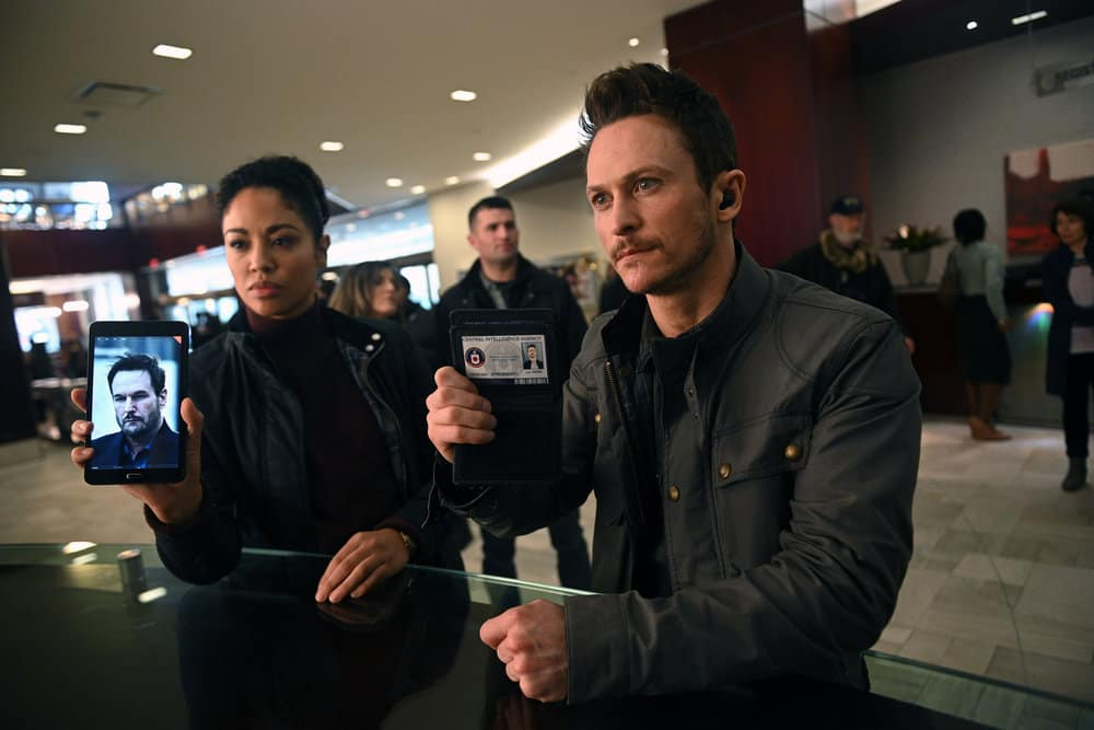 "Debris-- ""Pilot"" -- Pictured: (l-r) Riann Steele as Finola Jones, Jonathan Tucker as Bryan Benventi -- (Photo by: Sergei Bachlakov/NBC)"