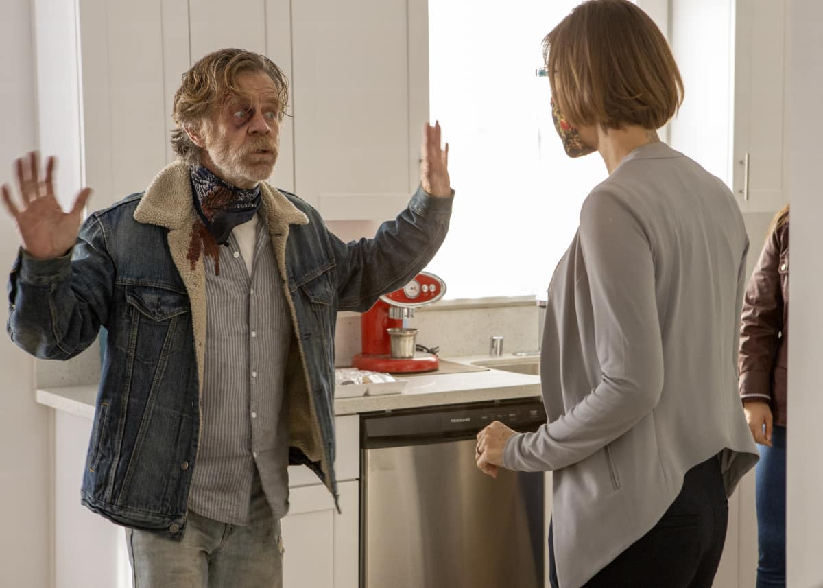 """Shameless Season 11 Episode 7 (L-R): William H. Macy as Frank Gallagher and Beth Fraser as Cynthia in SHAMELESS, """"Two at a Biker Bar, One in the Lake"""". Photo Credit: Paul Sarkis/SHOWTIME."""
