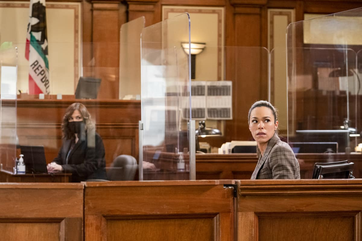"All Rise Season 2 Episode 9 ""Safe to Fall"" Pictured (L-R): Lindsay Mendez as Sara Castillo and Jessica Camacho as Emily Lope"