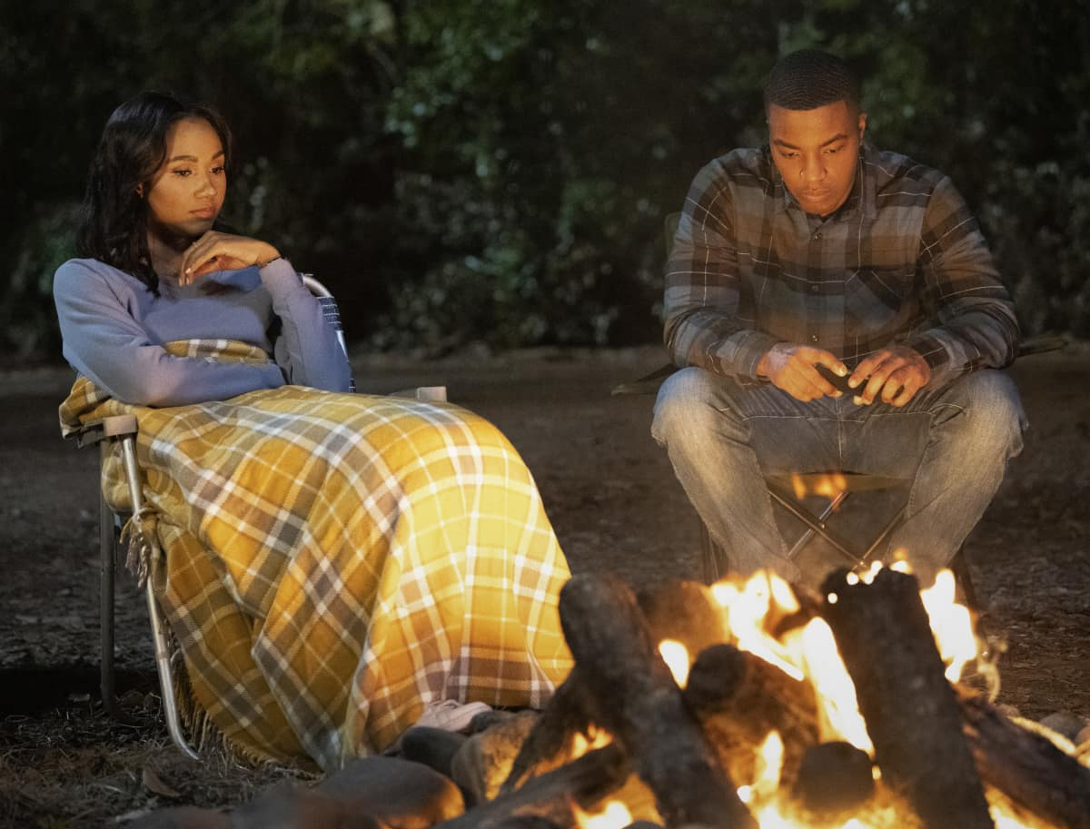 """All American Season 3 Episode 6 -- """"Teenage Love"""" -- Image Number: ALA306a_0006r.jpg -- Pictured (L-R): Greta Onieogou as Layla and Daniel Ezra as Spencer -- Photo: Anne Marie Fox/The CW -- © 2021 The CW Network, LLC. All Rights Reserved"""