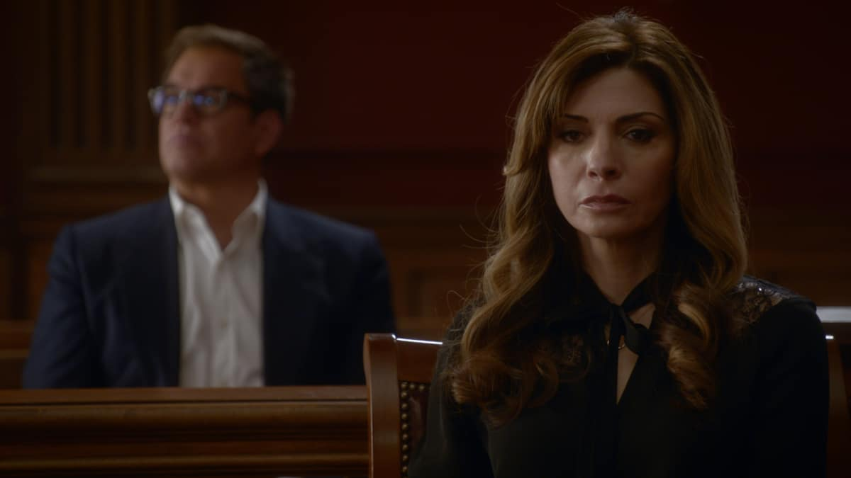 Bull Season 5 Episode 9 The Bad Client Pictured L-R: Michael Weatherly as Dr. Jason Bull and Callie Thorne as Madeline McBride