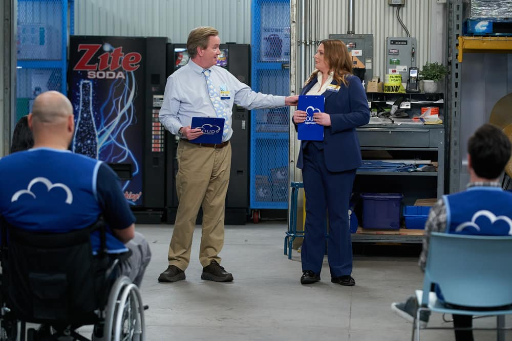 "SUPERSTORE Season 6 Episode 10 -- ""Depositions"" Episode 610 -- Pictured: (l-r) Mark McKinney as Glenn, Lauren Ash as Dina -- (Photo by: Tyler Golden/NBC)"