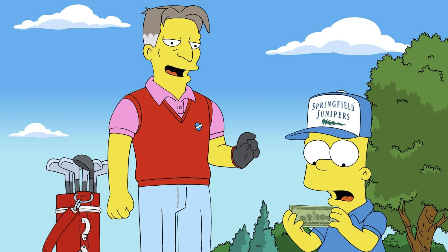 THE SIMPSONS Season 32 Episode 12 : Bart becomes a successful caddy, but Marge worries it is ruining his character in the Wad Goals episode of THE SIMPSONS airing Sunday, Feb. 28 (8:00-8:30 PM ET/PT) on FOX. Guest voice Stephen Root. THE SIMPSONS © 2021 by 20th Television.