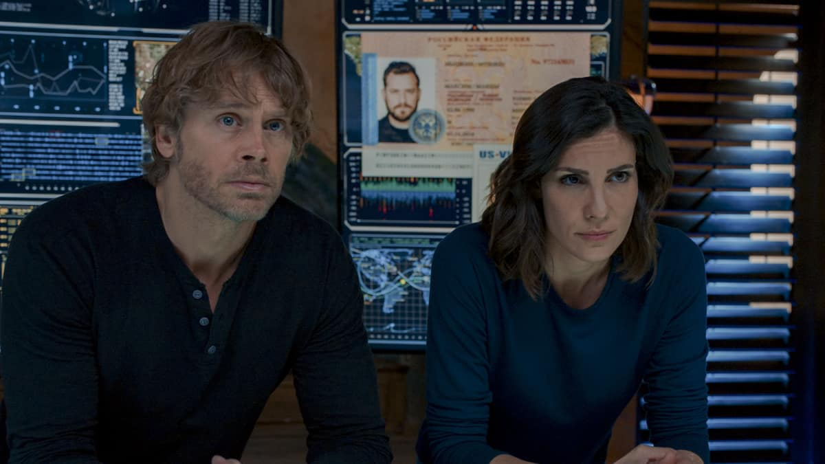 "NCIS Los Angeles Season 12 Episode 12 ""Can't Take My Eyes Off You"" - Pictured: Eric Christian Olsen (LAPD Liaison Marty Deeks) and Daniela Ruah (Special Agent Kensi Blye)."