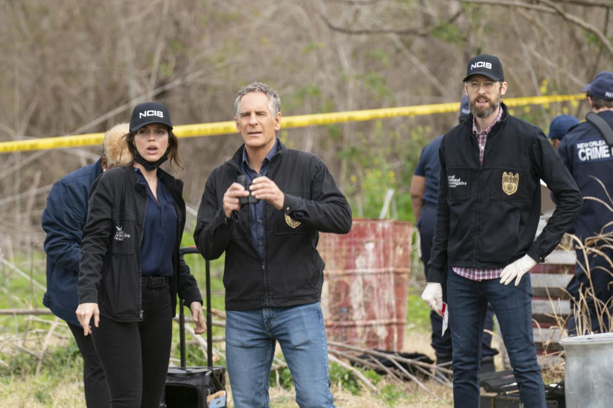 """NCIS New Orleans Season 7 Episode 10 """"Homeward Bound"""" Pictured L-R: Vanessa Ferlito as Special Agent Tammy Gregorio, Scott Bakula as Special Agent Dwayne Pride, and Rob Kerkovich as Forensic Agent Sebastian Lund"""