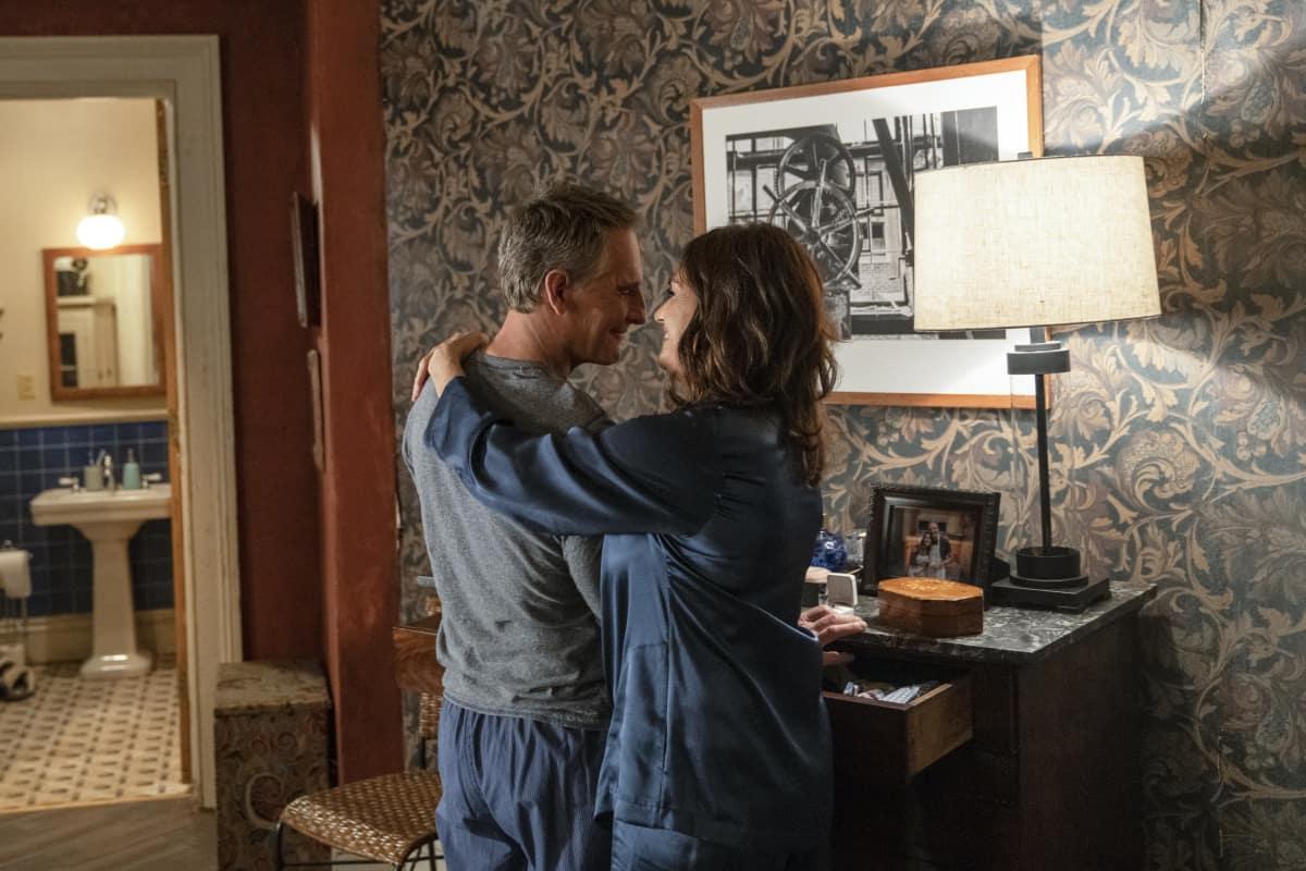 NCIS New Orleans Season 7 Episode 10 Homeward Bound Pictured L-R: Scott Bakula as Special Agent Dwayne Pride and Chelsea Field as Rita Devereaux