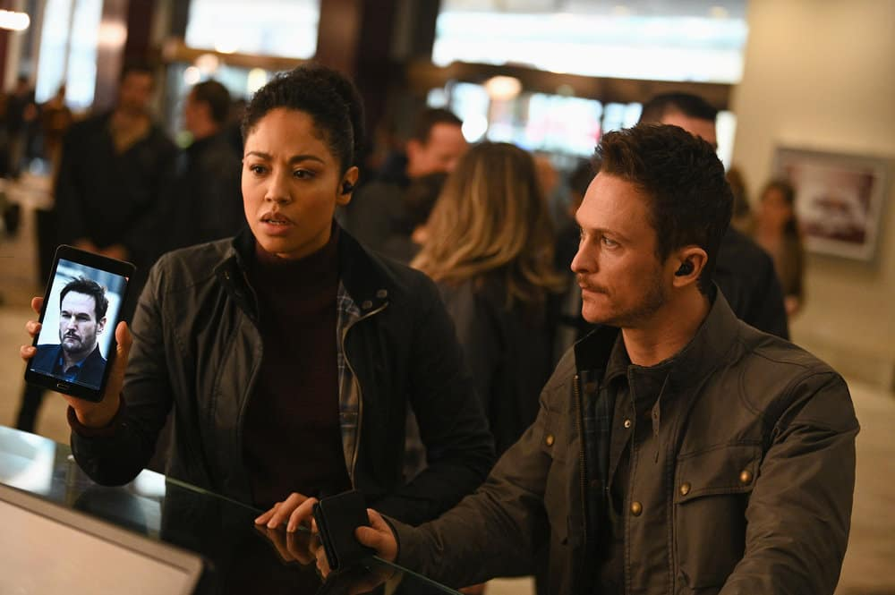 "Debris Season 1 Episode 1 -- ""Pilot""  -- Pictured: (l-r) Riann Steele as Finola Jones, Jonathan Tucker as Bryan Beneventi -- (Photo by: Sergei Bachlakov/NBC)"