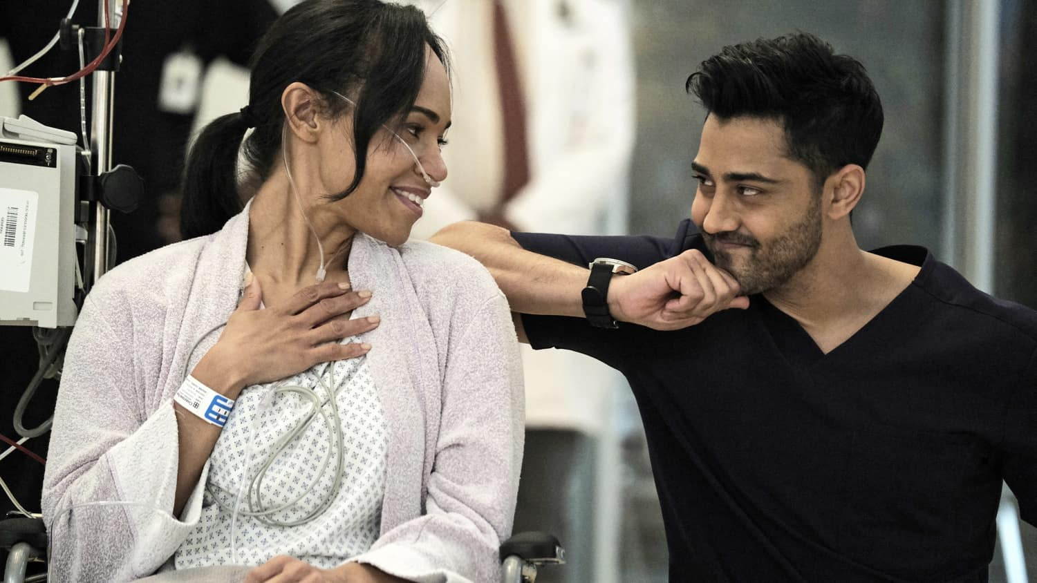 """THE RESIDENT Season 4 Episode 7 : L-R: Guest star Cara Ricketts and Manish Dayal in the """"Hero Moments"""" episode of THE RESIDENT airing Tuesday, March 2 (8:00-9:01 PM ET/PT) on FOX. ©2021 Fox Media LLC Cr: Guy D'Alema/FOX"""