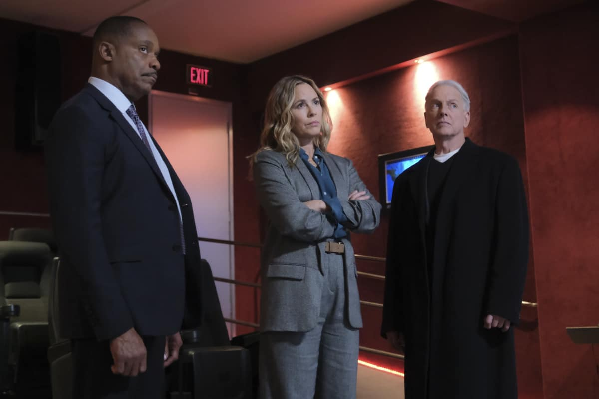 "NCIS Season 18 Episode 8 ""True Believer"" Pictured: Rocky Carroll as BCIS Director Leon Vance, Maria Bello as NCIS Special Agent Jaqueline ""Jack"" Sloane, Mark Harmon as NCIS Special Agent Leroy Jethro Gibbs."