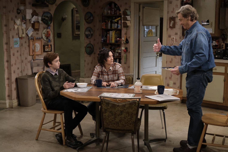 "THE CONNERS Season 3 Episode 12 - ""A Stomach Ache, A Heartbreak and a Grave Mistake"" –  AMES MCNAMARA, SARA GILBERT, JOHN GOODMAN"