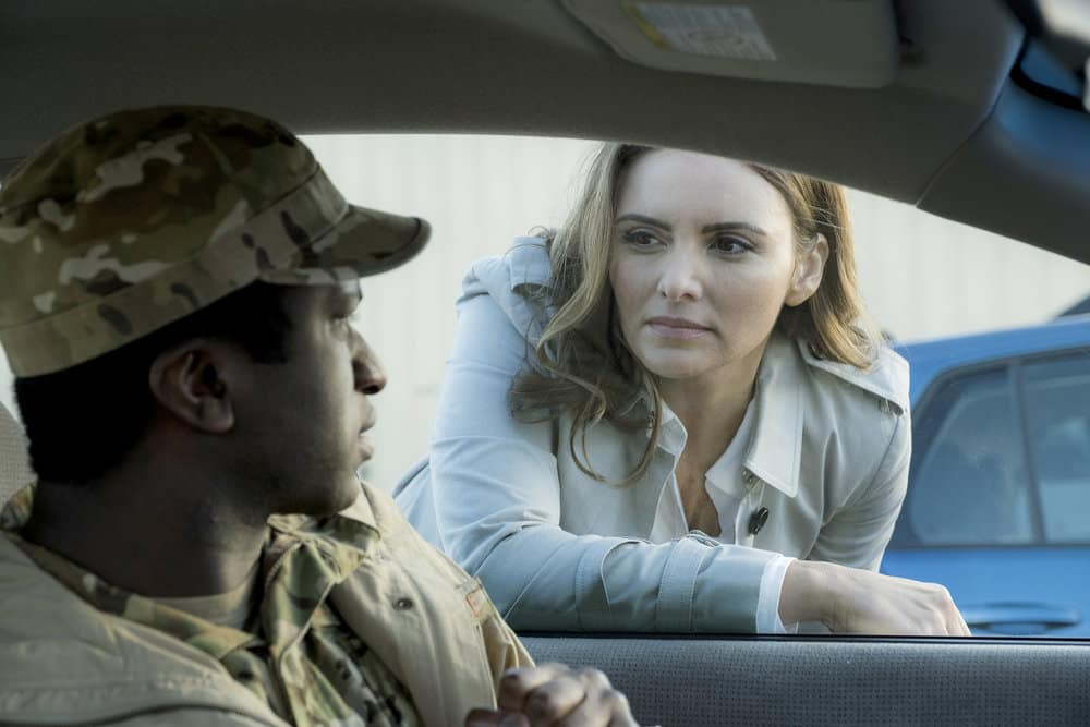 "RESIDENT ALIEN Season 1 Episode 6 -- ""Sexy Beast"" Episode 106 -- Pictured: (l-r) Alex Barima as David Logan, Mandell Maughan as Lisa Casper -- (Photo by: James Dittinger/SYFY)"