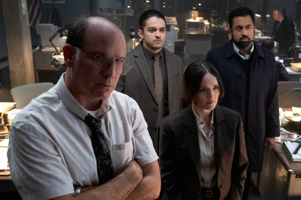 "Clarice Season 1 Episode 4 ""You Can't Rule Me"" -  Pictured  (L-R) Nick Sandow as Agent Clarke, Lucca De Oliveira as Tomas Esquivel, Rebecca Breeds as Clarice Starling and Kal Penn as Shaan Tripathi"