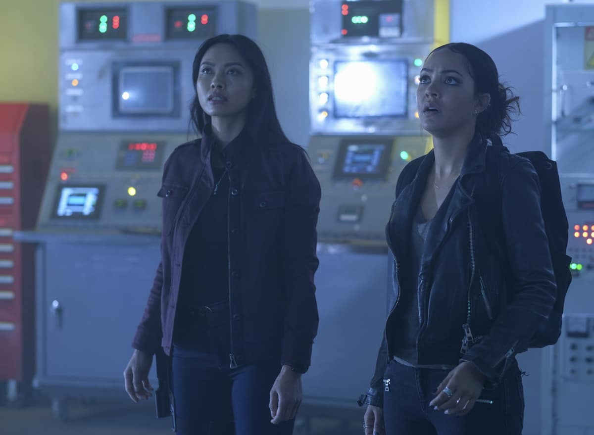 "MacGyver Season 5 Episode 10 ""Diamond + Quake + Carbon + Comms + Tower"" – Pictured:  Levy Tran as Desi Nguyen, Tristin Mays as Riley Davis."