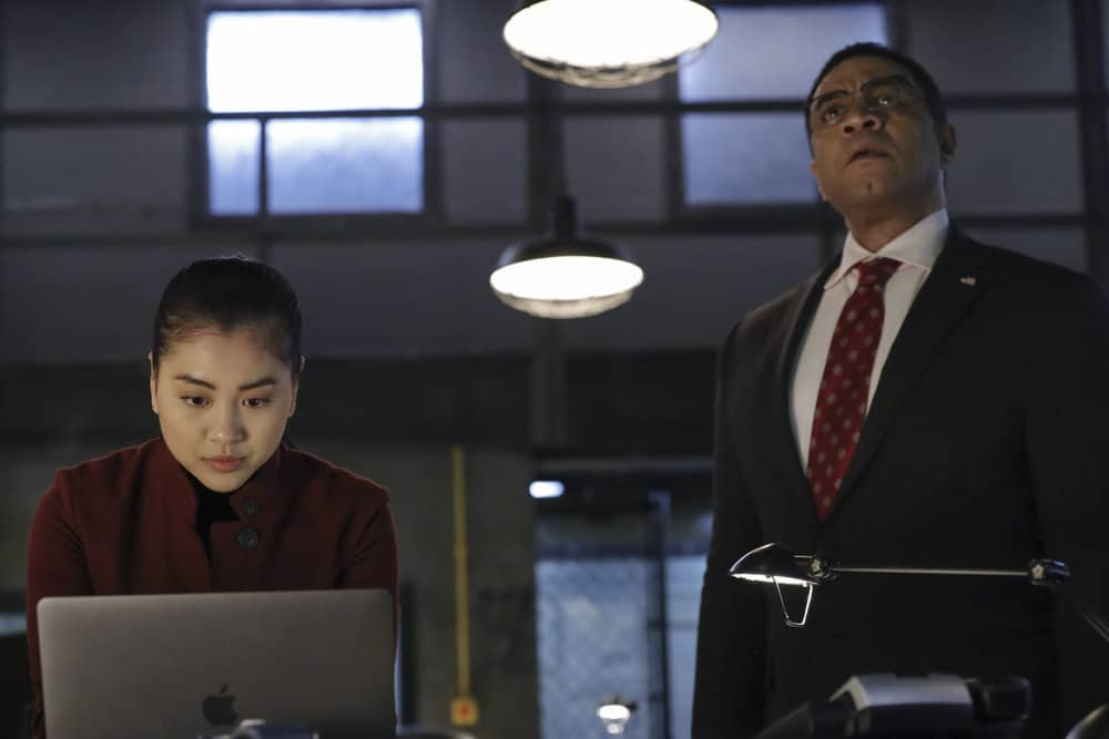"THE BLACKLIST Season 8 Episode 9 -- ""The Cyranoid (#35)"" Episode 809 -- Pictured: (l-r) Laura Sohn as Agent Alina Park, Harry Lennix as Harold Cooper -- (Photo by: Will Hart/NBC)"