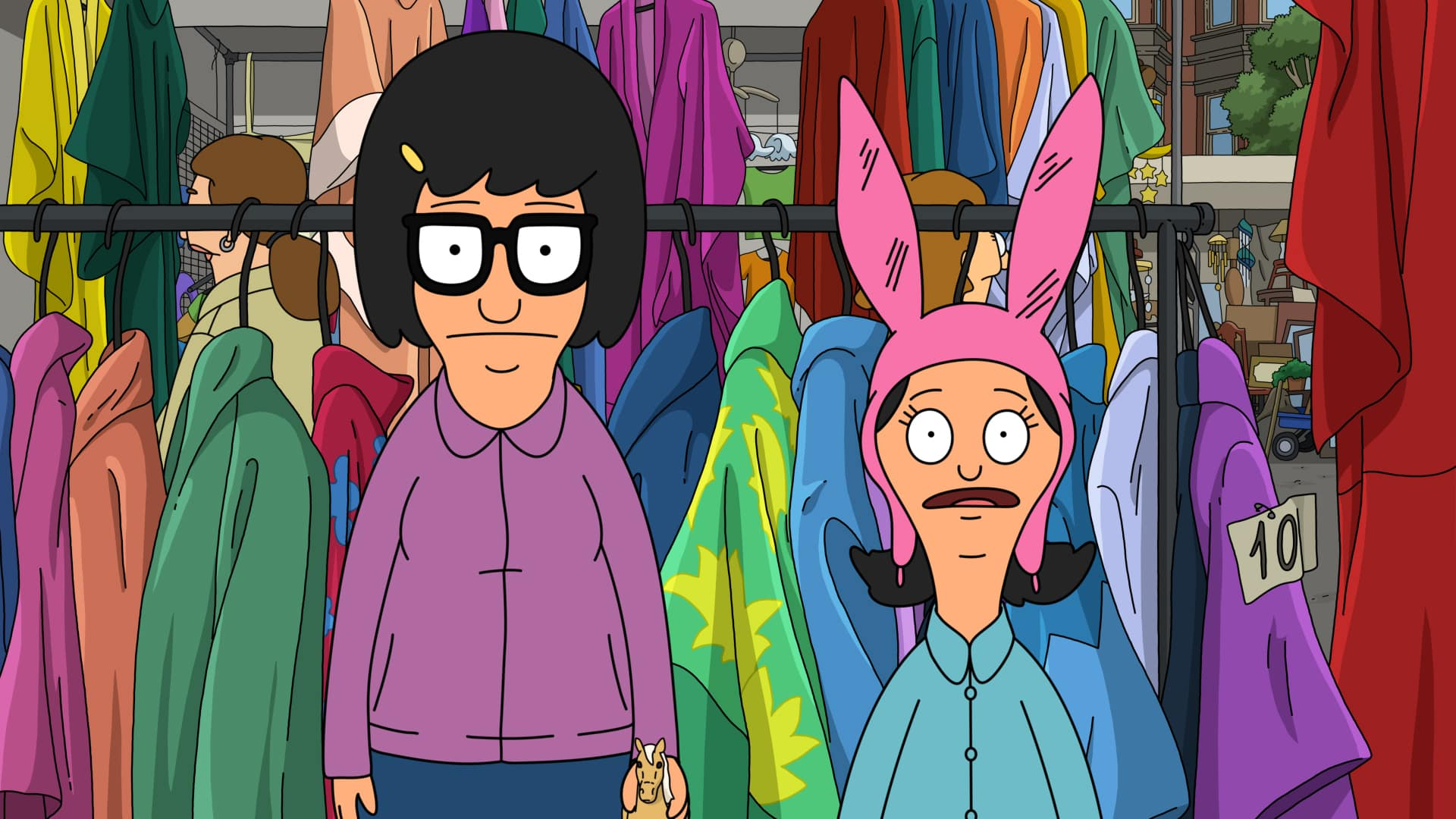 """BOB'S BURGERS Season 11 Episode 13 : While on a family trip to the flea market, Bob and Linda are haunted by a lie they told Tina, Gene and Louise about what really happened to their beloved stuffed animal, Wheelie Mammoth, in the """"An Incon-wheelie-ent Truth"""" episode of BOB'S BURGERS airing Sunday, March 7 (9:00-9:30 PM ET/PT) on FOX. BOB'S BURGERS © 2021 by 20th Television."""