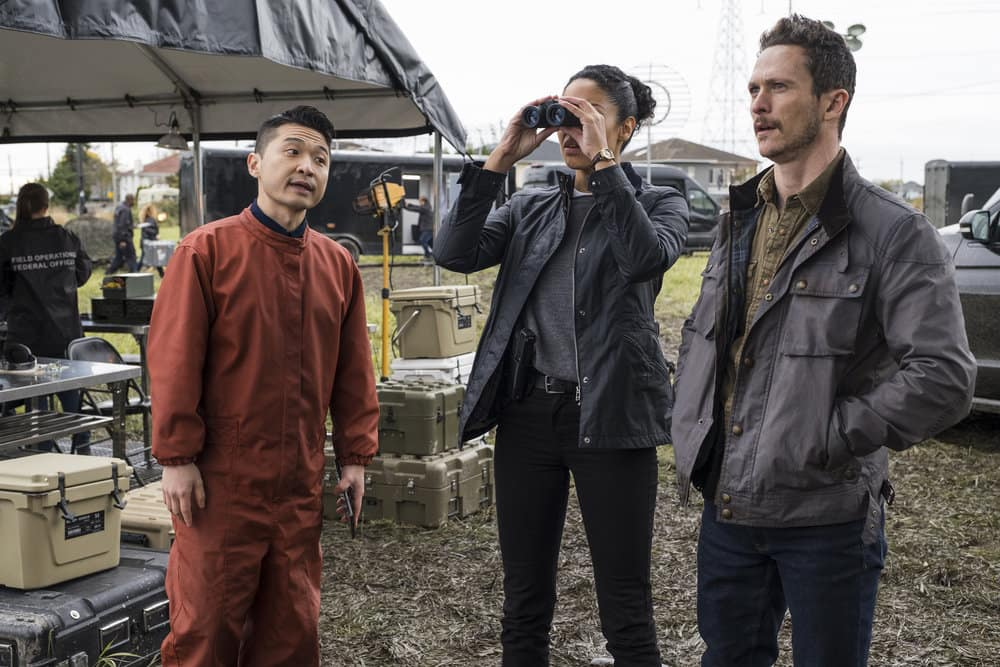 "DEBRIS Season 1 Episode 2 -- ""You Are Not Alone"" Episode: 102 -- Pictured: (l-r) Howie Lai as Agent Chin, Riann Steele as Finola Jones, Jonathan Tucker as Bryan Beneventi -- (Photo by: James Dittiger/NBC)"