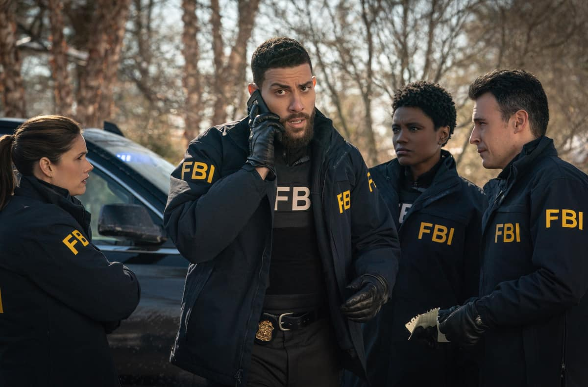 """FBI Season 3 Episode 8 """"Walk the Line"""" - Pictured (L-R) Missy Peregrym as Special Agent Maggie Bell,  Zeeko Zaki as Special Agent Omar Adom OA Zidan, Katherine Renee Turner as Special Agent Tiffany Wallace and John Boyd as Special Agent Stuart Scola  Photo: Michael Parmelee/ ©2021 CBS Broadcasting, Inc. All Rights Reserved."""