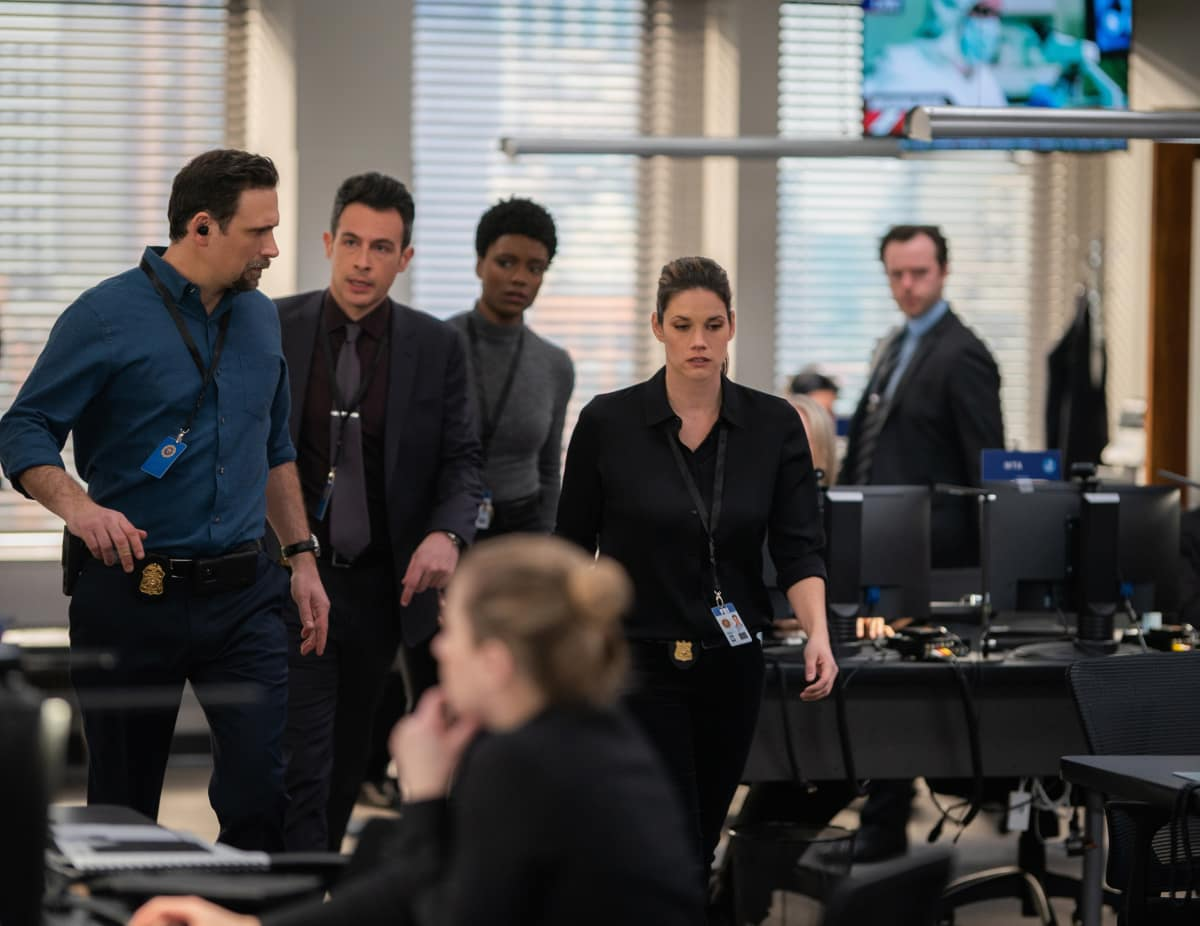 """FBI Season 3 Episode 8 """"Walk the Line"""" - Pictured (L-R) John Boyd as Special Agent Stuart Scola, Jeremy Sisto as Assistant Special Agent in Charge Jubal Valentine, Katherine Renee Turner as Special Agent Tiffany Wallace and Missy Peregrym as Special Agent Maggie Bell"""