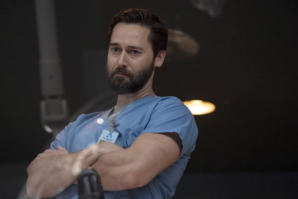 """NEW AMSTERDAM Season 3 Episode 2 -- """"Essential Workers"""" Episode 302 -- Pictured: Ryan Eggold as Dr. Max Goodwin -- (Photo by: Virginia Sherwood/NBC)"""