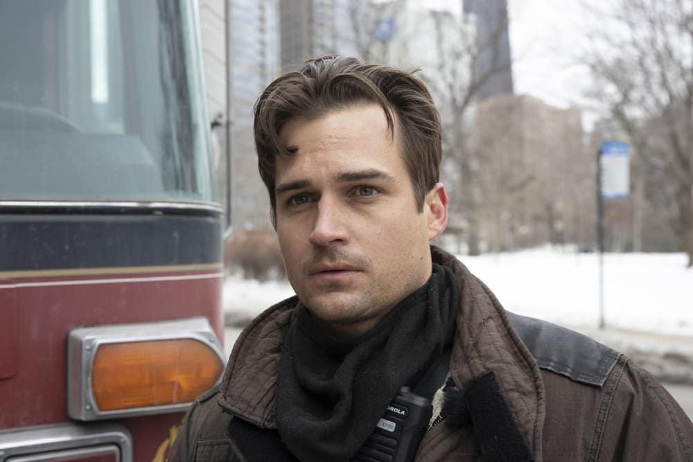 """CHICAGO FIRE Season 9 Episode 8 -- """"Escape Route"""" Episode 908 -- Pictured: Jon-Michael Ecker as Lieutenant Greg Grainger -- (Photo by: Adrian S. Burrows Sr./NBC)"""
