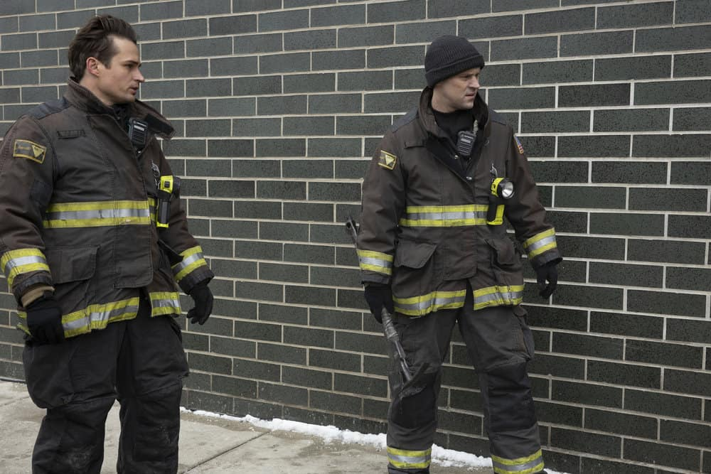 """CHICAGO FIRE Season 9 Episode 8 -- """"Escape Route"""" Episode 908 -- Pictured: (l-r) Jon-Michael Ecker as Lieutenant Greg Grainger, Jesse Spencer as Matthew Casey -- (Photo by: Adrian S. Burrows Sr./NBC)"""