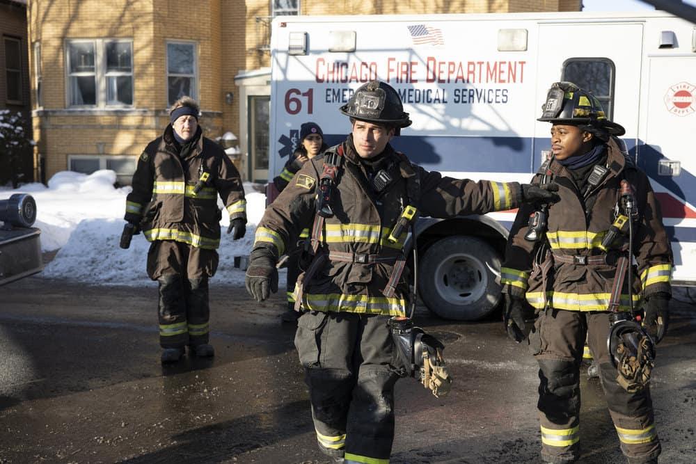"CHICAGO FIRE Season 9 Episode 8 -- ""Escape Route"" Episode 908 -- Pictured: (l-r) Christian Stolte as Randall ""Mouch"" McHolland, Jon-Michael Ecker as Lieutenant Greg Grainger, Daniel Kyri as Ritter -- (Photo by: Adrian S. Burrows Sr./NBC)"